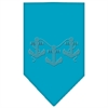 Mirage Pet Products Anchors Rhinestone Bandana Turquoise Large