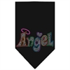 Mirage Pet Products Technicolor Angel Rhinestone Pet Bandana Black Size Large