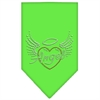 Mirage Pet Products Angel Heart Rhinestone Bandana Lime Green Small