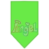 Mirage Pet Products Technicolor Angel Rhinestone Pet Bandana Lime Green Size Large
