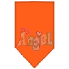 Mirage Pet Products Technicolor Angel Rhinestone Pet Bandana Orange Size Large