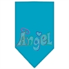 Mirage Pet Products Technicolor Angel Rhinestone Pet Bandana Turquoise Size Large
