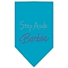 Mirage Pet Products Step Aside Barbie Rhinestone Bandana Turquoise Large