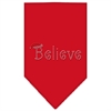 Mirage Pet Products Believe Rhinestone Bandana Red Small