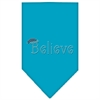 Mirage Pet Products Believe Rhinestone Bandana Turquoise Large