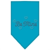 Mirage Pet Products Be Mine Rhinestone Bandana Turquoise Large
