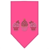 Mirage Pet Products Christmas Cupcakes Rhinestone Bandana Bright Pink Large