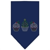 Mirage Pet Products Christmas Cupcakes Rhinestone Bandana Navy Blue Small