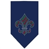 Mirage Pet Products Christmas Fleur De Lis Rhinestone Bandana Navy Blue large