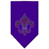 Mirage Pet Products Christmas Fleur De Lis Rhinestone Bandana Purple Large