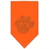 Mirage Pet Products Christmas Paw Rhinestone Bandana Orange Small