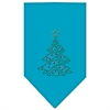 Mirage Pet Products Christmas Tree Rhinestone Bandana Turquoise Large