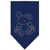Mirage Pet Products Bunny Rhinestone Bandana Navy Blue Small
