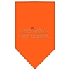 Mirage Pet Products Dear Santa Rhinestone Bandana Orange Large