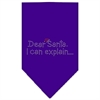 Mirage Pet Products Dear Santa Rhinestone Bandana Purple Large