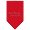 Mirage Pet Products Dear Santa Rhinestone Bandana Red Large