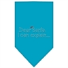 Mirage Pet Products Dear Santa Rhinestone Bandana Turquoise Small