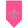 Mirage Pet Products Mardi Gras Fleur De Lis Rhinestone Bandana Bright Pink Large
