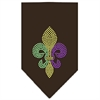 Mirage Pet Products Mardi Gras Fleur De Lis Rhinestone Bandana Brown Small