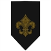 Mirage Pet Products Fleur De Lis Gold Rhinestone Bandana Black Large