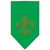 Mirage Pet Products Fleur De Lis Gold Rhinestone Bandana Emerald Green Small