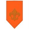 Mirage Pet Products Fleur De Lis Gold Rhinestone Bandana Orange Large