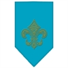 Mirage Pet Products Fleur De Lis Gold Rhinestone Bandana Turquoise Small
