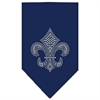 Mirage Pet Products Mardi Gras Fleur De Lis Rhinestone Bandana Navy Blue large