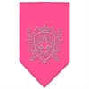 Mirage Pet Products Fleur De Lis Shield Rhinestone Bandana Bright Pink Large