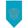 Mirage Pet Products Fleur De Lis Shield Rhinestone Bandana Turquoise Large