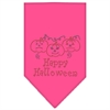 Mirage Pet Products Happy Halloween Rhinestone Bandana Bright Pink Large