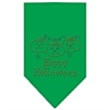 Mirage Pet Products Happy Halloween Rhinestone Bandana Emerald Green Large