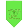 Mirage Pet Products Happy Halloween Rhinestone Bandana Lime Green Small