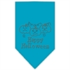 Mirage Pet Products Happy Halloween Rhinestone Bandana Turquoise Large