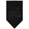 Mirage Pet Products Happy New Year Rhinestone Bandana Black Large