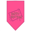 Mirage Pet Products Happy New Year Rhinestone Bandana Bright Pink Large