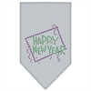 Mirage Pet Products Happy New Year Rhinestone Bandana Grey Large