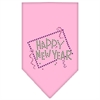 Mirage Pet Products Happy New Year Rhinestone Bandana Light Pink Large
