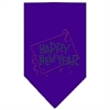 Mirage Pet Products Happy New Year Rhinestone Bandana Purple Large
