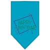 Mirage Pet Products Happy New Year Rhinestone Bandana Turquoise Small
