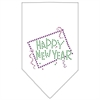 Mirage Pet Products Happy New Year Rhinestone Bandana White Small