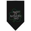 Mirage Pet Products Happy St. Patricks Day Rhinestone Bandana Black Large