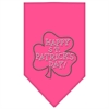 Mirage Pet Products Happy St. Patricks Day Rhinestone Bandana Bright Pink Small