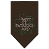 Mirage Pet Products Happy St. Patricks Day Rhinestone Bandana Cocoa Large