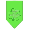 Mirage Pet Products Happy St. Patricks Day Rhinestone Bandana Lime Green Large