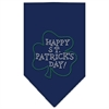 Mirage Pet Products Happy St. Patricks Day Rhinestone Bandana Navy Blue large