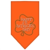 Mirage Pet Products Happy St. Patricks Day Rhinestone Bandana Orange Large