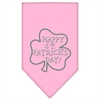 Mirage Pet Products Happy St. Patricks Day Rhinestone Bandana Light Pink Large