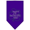 Mirage Pet Products Happy St. Patricks Day Rhinestone Bandana Purple Large