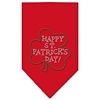Mirage Pet Products Happy St. Patricks Day Rhinestone Bandana Red Large